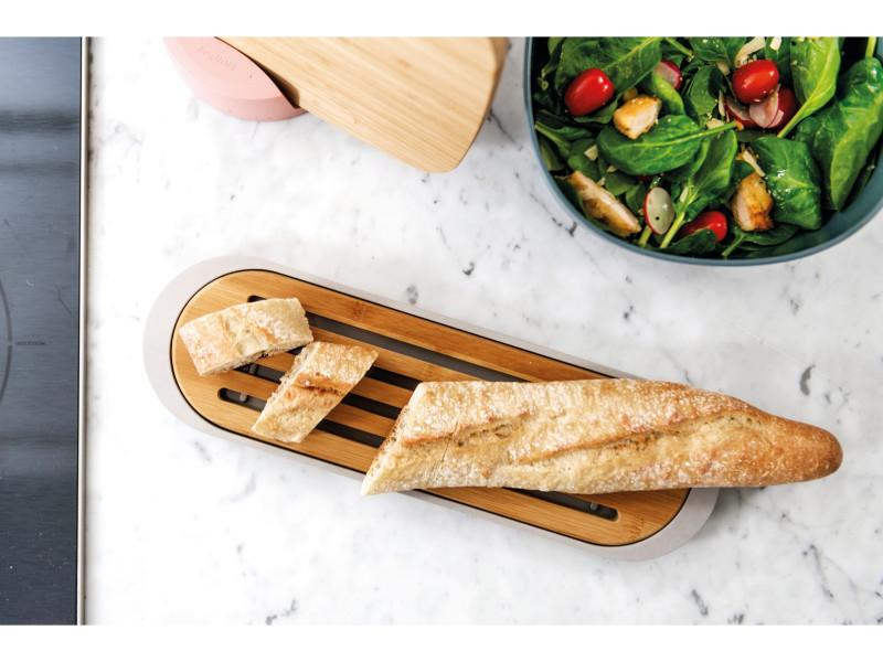 "Leo 14.5"" Bamboo Baguette Cutting Board with Tray, Mint, Gray"