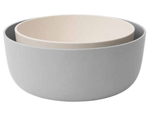 Leo 2Pc Bamboo Serving Bowl Set, White & Gray