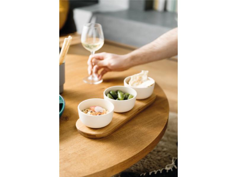 Leo 3Pc Bowl Set with Bamboo Tray 0.29Qt Each, White
