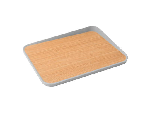 "Leo 16.25"" Bamboo Cutting Board Anti-Slip, Gray"