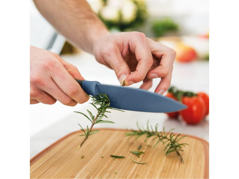 "Leo 5.5"" Stainless Steel Chef Knife with Herb Stripper, Blue"