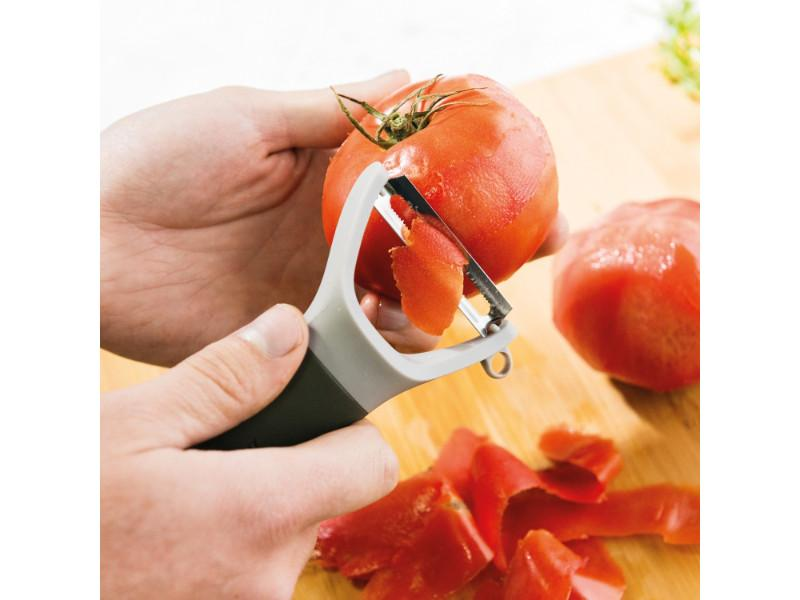 Leo Stainless Steel Serrated Y-Peeler, Gray