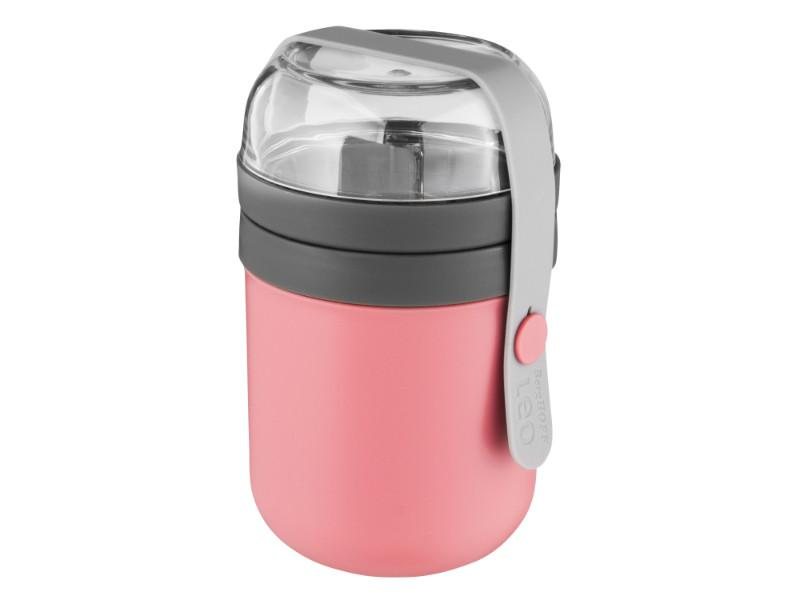 Leo 0.5Qt Dual Lunch Pot, Pink & Gray