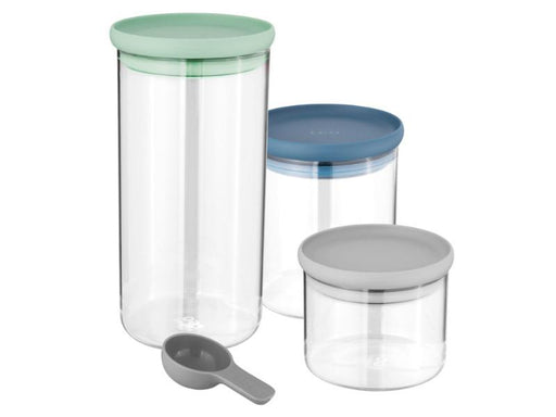 Leo 3Pc Glass Food Container Set, Green, Blue, Gray