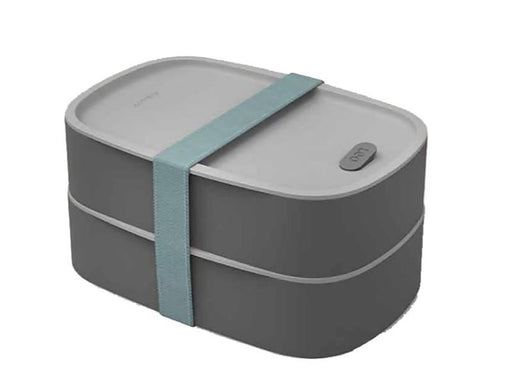 Leo 3Pc 1.7Qt Dual Bento Box Set with Strap, Gray & Mint