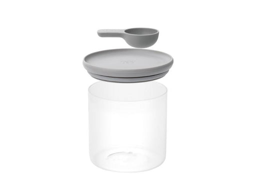 "Leo 5"" Glass Food Container with Spoon, Grey"
