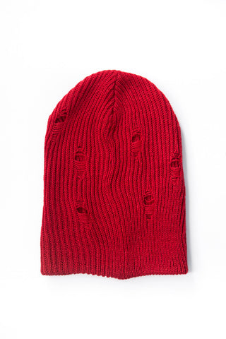 Distressed Red Beanie