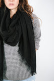 Black Raw Edge Scarf