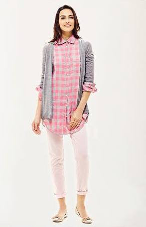 0039 Italy Pippa linen shirt pink and grey