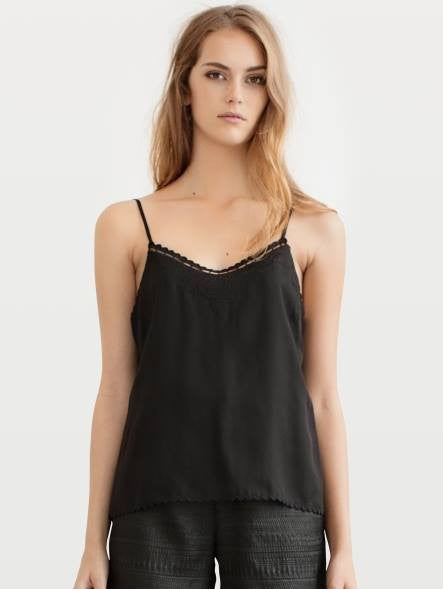 Rodebjer black clavi camisole in tencel fabric with embroidery detail and thin adjustable straps