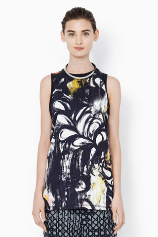 Phillip Lim Cut In Tank Black Abstract Fern Print