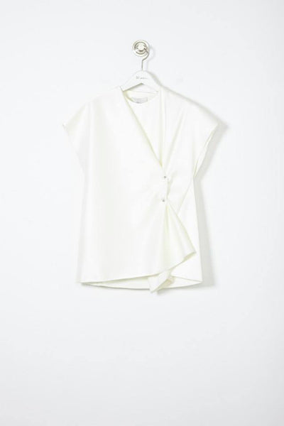 3.1 Phillip Lim Crossover Short Sleeve Shirt with Collar Pin