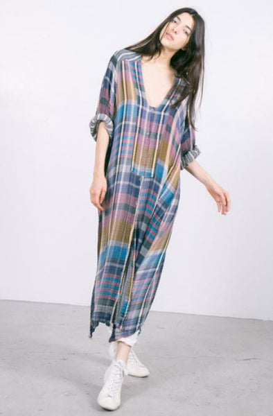 Raquel Allegra Madras Caftan Dress