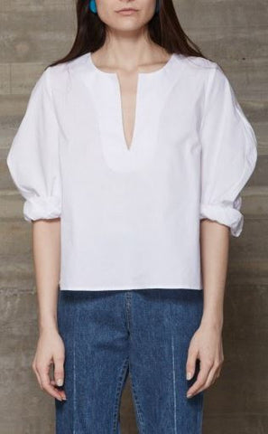 Rachel Comey crisp white cotton blouse with exaggerated long sleeves and v-neck