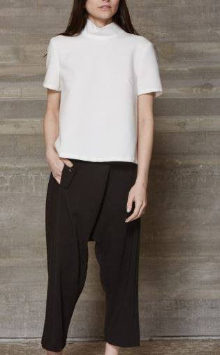 Rachel Comey white short sleeve mock neck open buttoned back blouse
