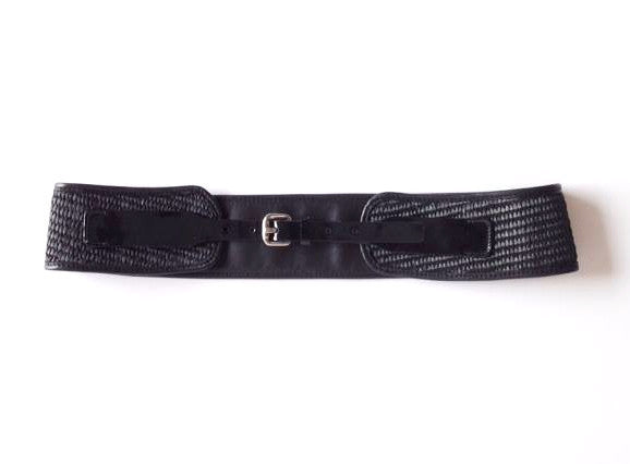 Rachel Comey Alta black raffia and leather belt
