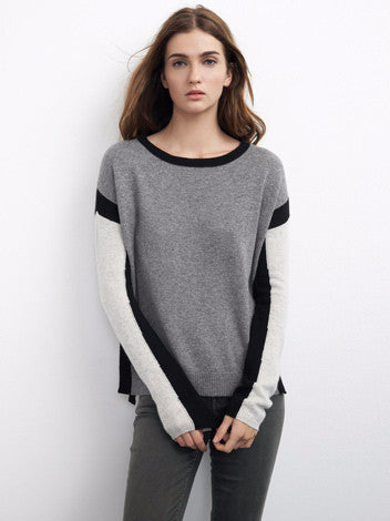 Velvet by graham and spencer grey, black, and white colorblock cahmere sweater