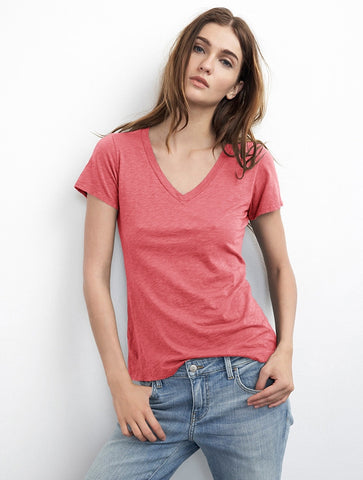 Velvet by graham and spencer lilith v-neck tee pink