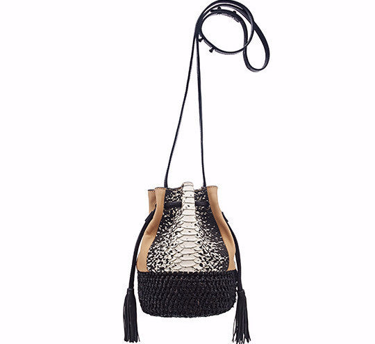 Loeffler Randall tan leather and black raffia bucket bag with anaconda embossed leather detail on front and back long crossbody adjustable strap