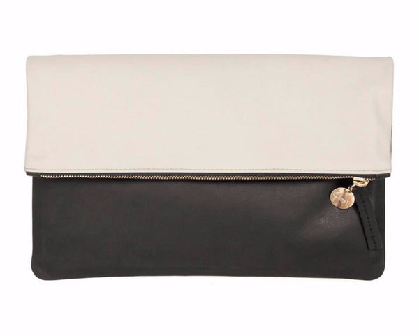 Clare Vivier black and off-white foldover clutch handbag