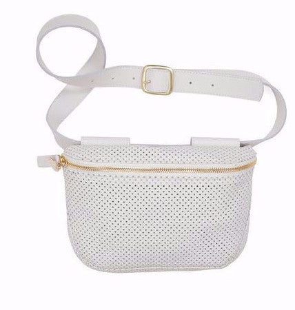 Clare Vivier white perforated leather belt bag fanny pack with 7-hole adjustable belt