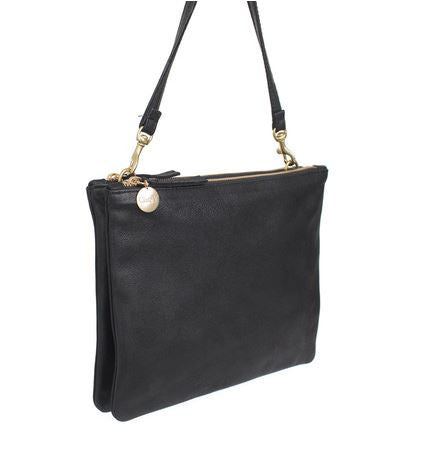 Clare Vivier black double pouch crossbody handbag with removable strap