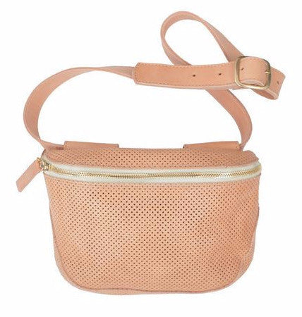 Clare Vivier natural perforated leather belt bag fanny pack with 7-hole adjustable belt