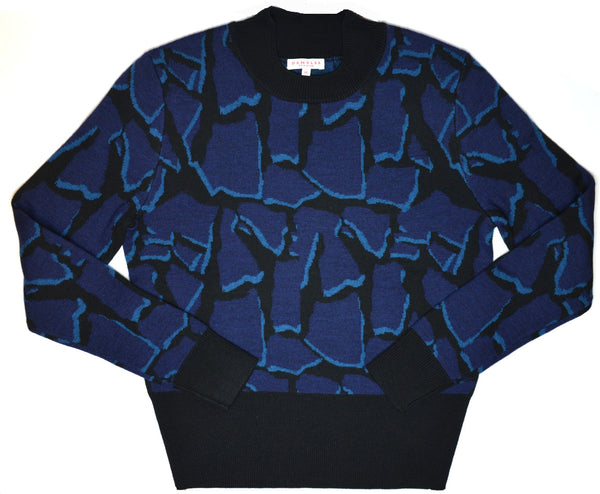 Demylee Brynn Jacquard Pullover Sweater blue and black
