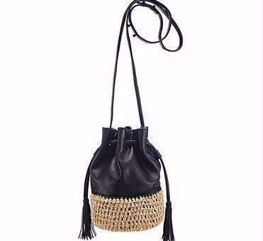Loeffler Randall Bucket Bag Black and Raffia