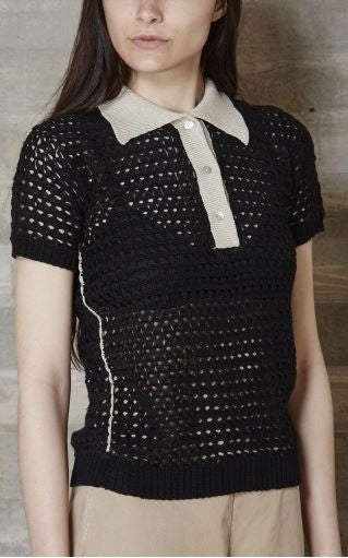 Rachel Comey black sheer crochet polo top with beige collar
