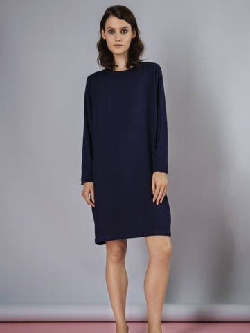 Rodebjer midnight blue long sleeve shift dress with slit at the back