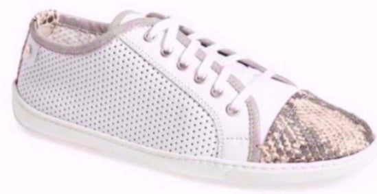 Attilio Giusti Leombruni white perforated leather lace up sneaker shoe