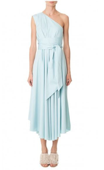 Tibi robin's egg blue on-shoulder cotton wrap dress