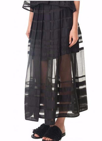 Tibi Striped organza midi skirt black