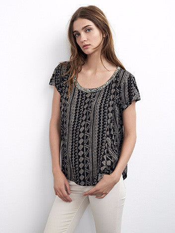 Velvet by graham and spencer black short sleeve viscose blouse with African-inspired print