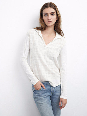 Velvet by graham and spencer off-white textured front longsleeve cotton collared top