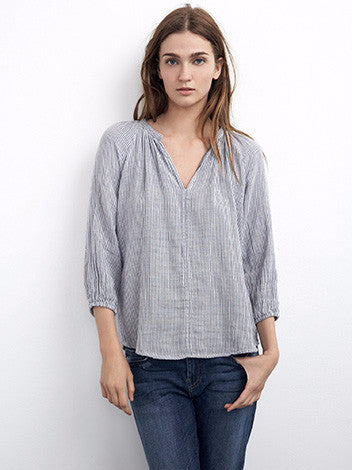 Velvet by graham and spencer blue pinstripe popover cotton peasant blouse