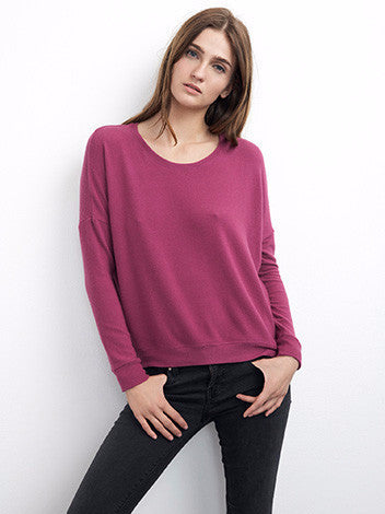 Velvet by graham and spencer fuchsia poly blend pullover sweatshirt
