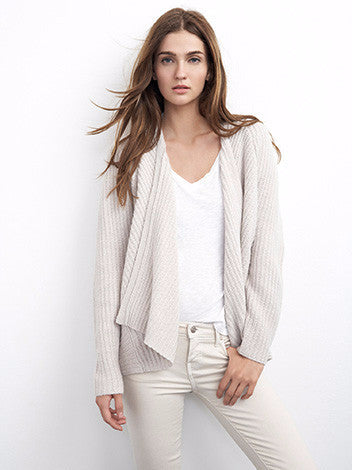Velvet by graham and spencer light oatmeal cashmere blend ribbed open cardigan