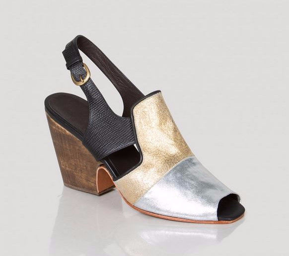 Rachel Comey gold, silver and black multi color slingback sandal with wooden heel