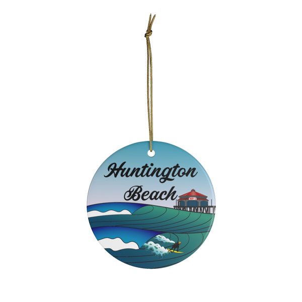 Huntington Beach Surf City Ceramic Ornament