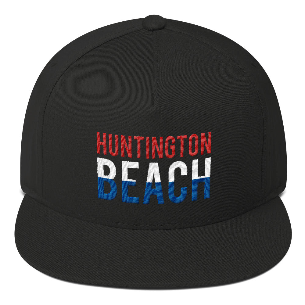 Huntington Beach 4th of July Red White and Blue Flat Bill Cap