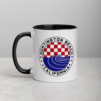 Huntington Beach Checker & Wave Patriotic Mug with Color Inside