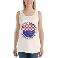 Huntington beach Red White & Blue Checkered Wave Tank - Unisex