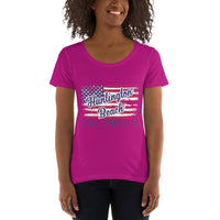 Huntington Beach Distressed Flag Women's Scoopneck T-Shirt