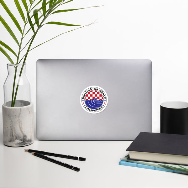 Huntington Beach Red White & Blue Checkered Wave Circle Sticker