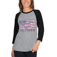 Huntington Beach Distressed Flag - 3/4 sleeve raglan shirt