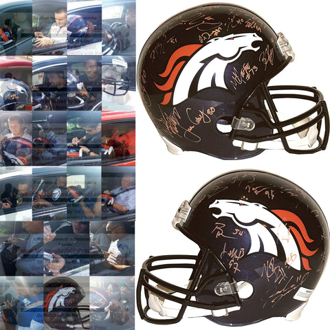 Football Helmets-Autographed -2015 Denver Broncos Signed Full Size Helmet, Proof Photo Collage 2