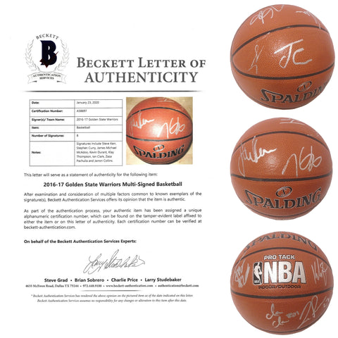 Basketballs-Autographed - 2016-2017 Golden State Warriors Team Signed NBA Basketball, Proof Photos - Beckett BAS Authenticated -Collage 101