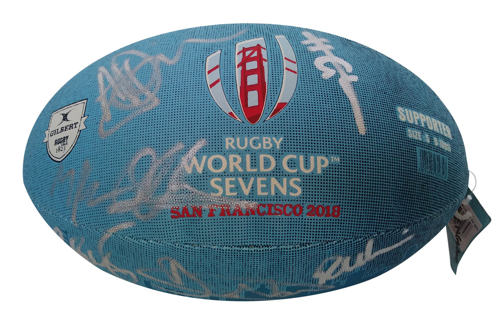 Rugby- Autographed- 2018 England Rugby National Union Team Signed World Cup Sevens Ball, Proof Photo